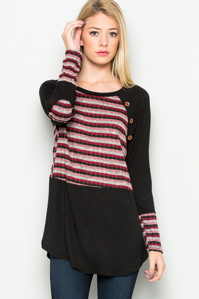 Stripe Contrast Tunic Top - Black