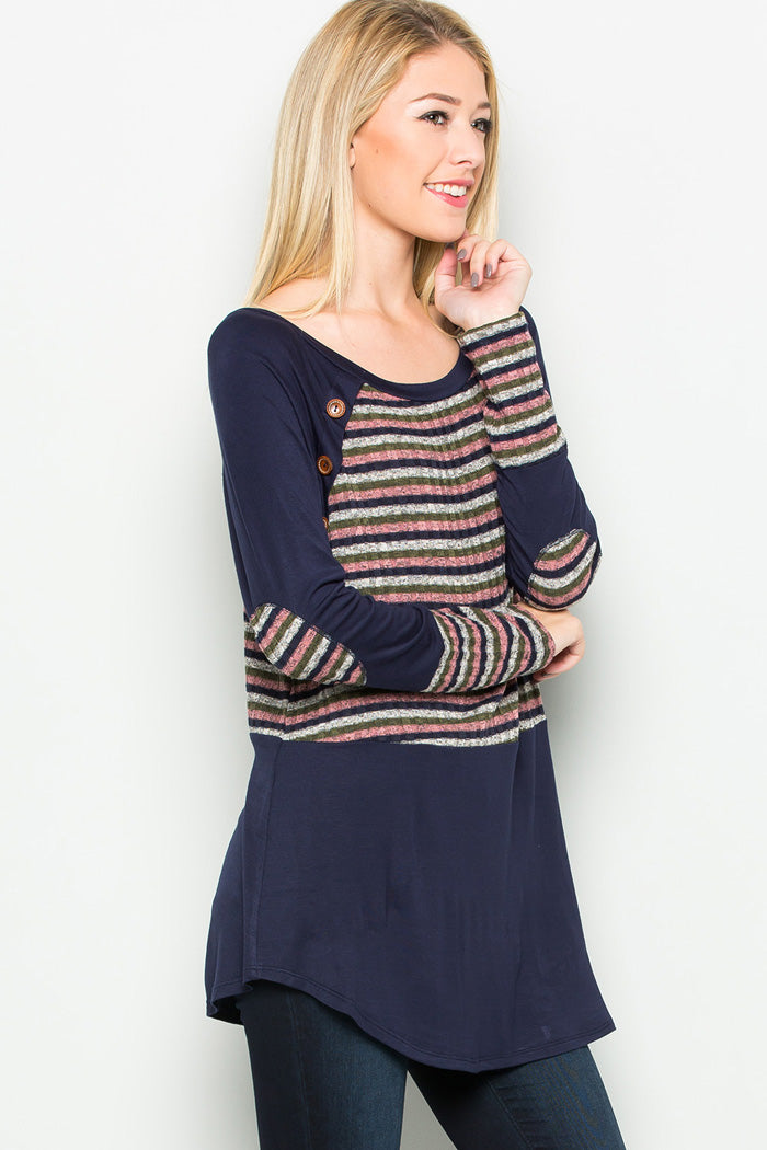Stripe Contrast Tunic Top - Navy