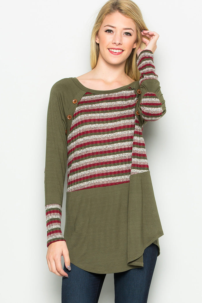 Stripe Contrast Tunic Top - Olive