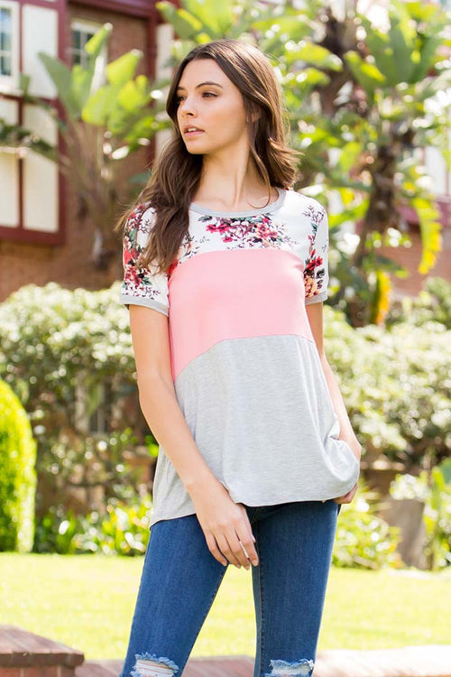 Color Block Floral Top - Shirts - GOZON