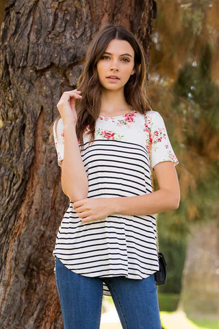 Floral and Stripe Casual Top - Shirts - GOZON