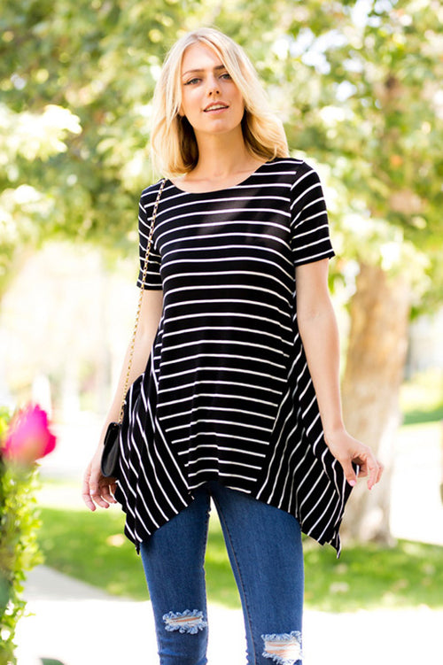 Stripe Asymmetrical Tunic Top : Black/Ivory