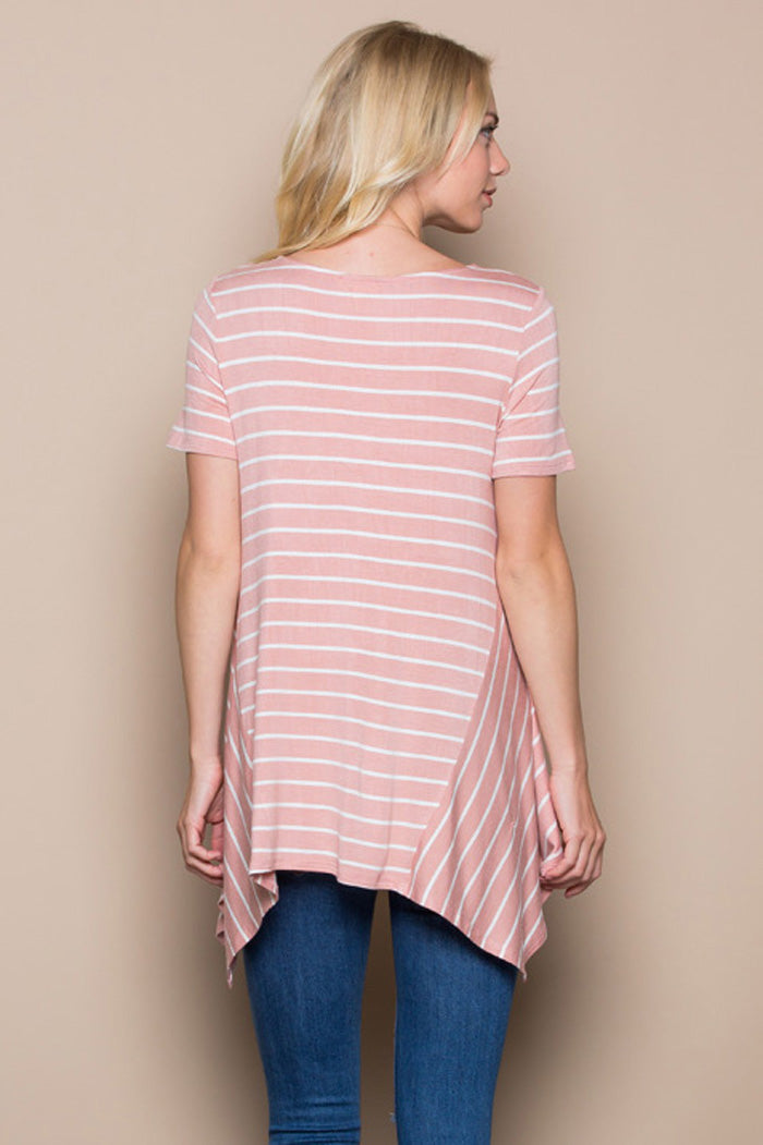 Stripe Asymmetrical Tunic Top : Mauve/Ivory