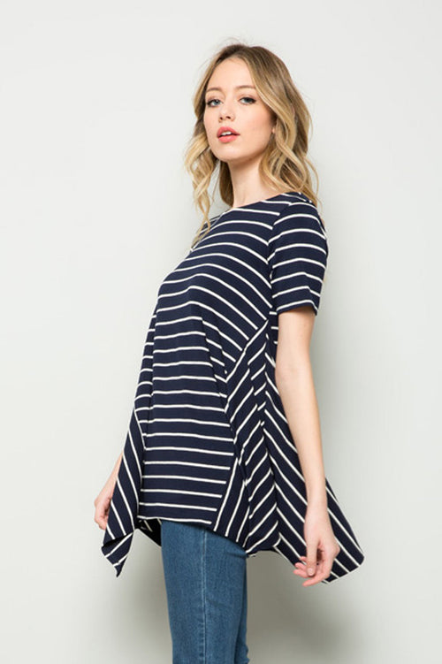 Stripe Asymmetrical Tunic Top : Navy