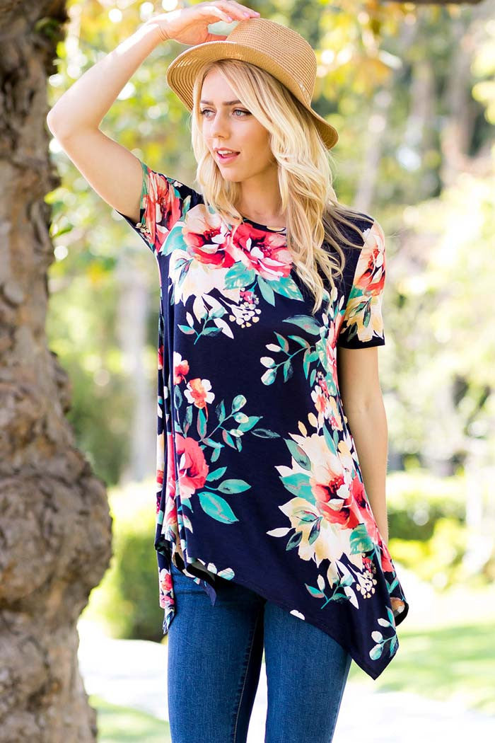 Lovely Floral Asymmetrical Top - Shirts - GOZON