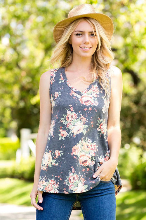 French Terry Floral Top - Shirts - GOZON