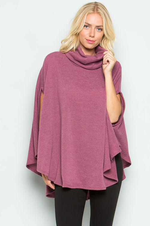 Turtle Neck Poncho Sweater Top : Black