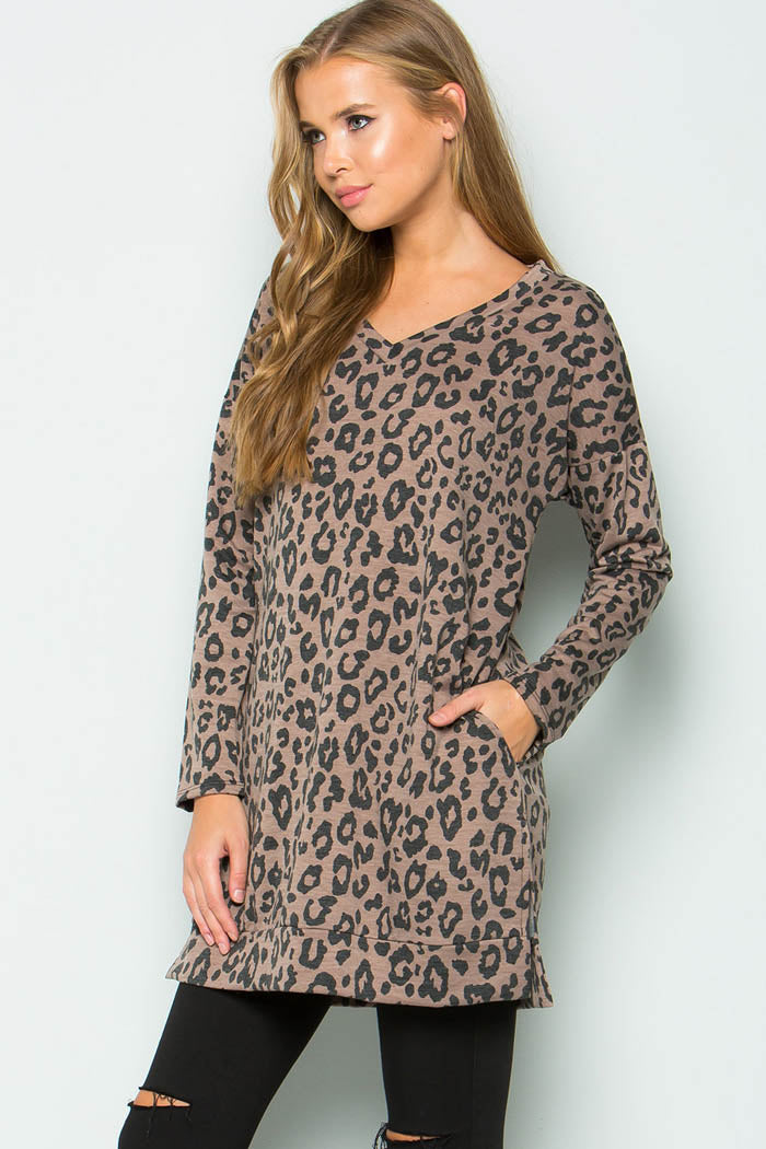 French Terry Animal Top - Brown