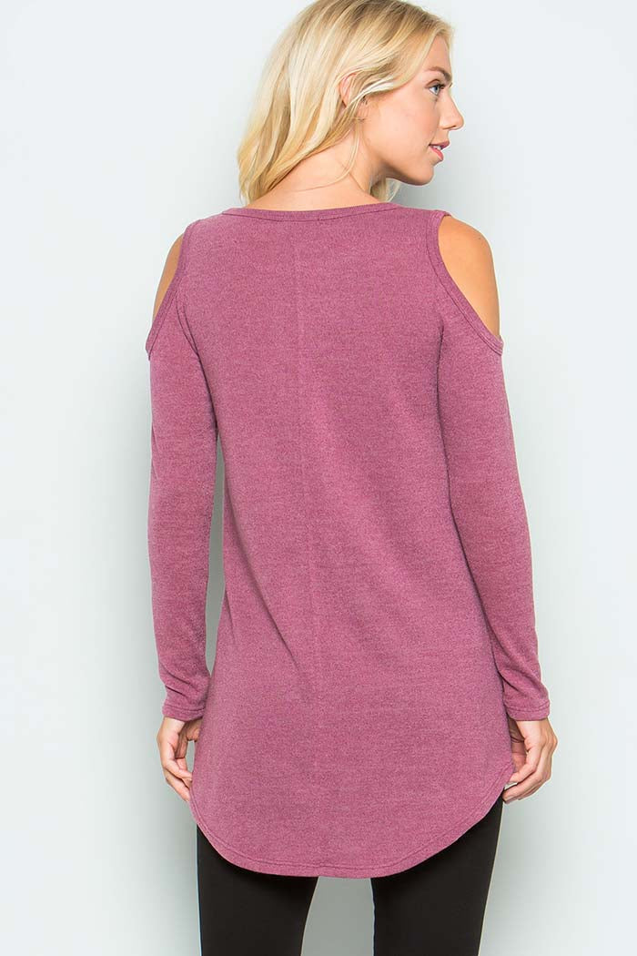 Cozy Cold Shoulder Shirt : Mauve