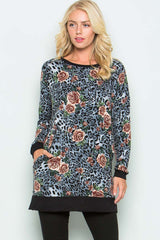 Animal with Floral Tunic - Grey