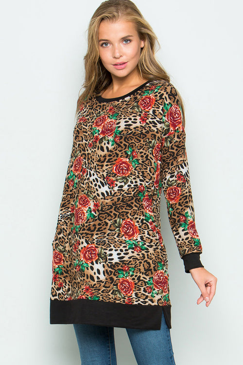 Animal with Floral Tunic - Mocha