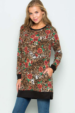 Lillian Leopard Tunic Top : Brown
