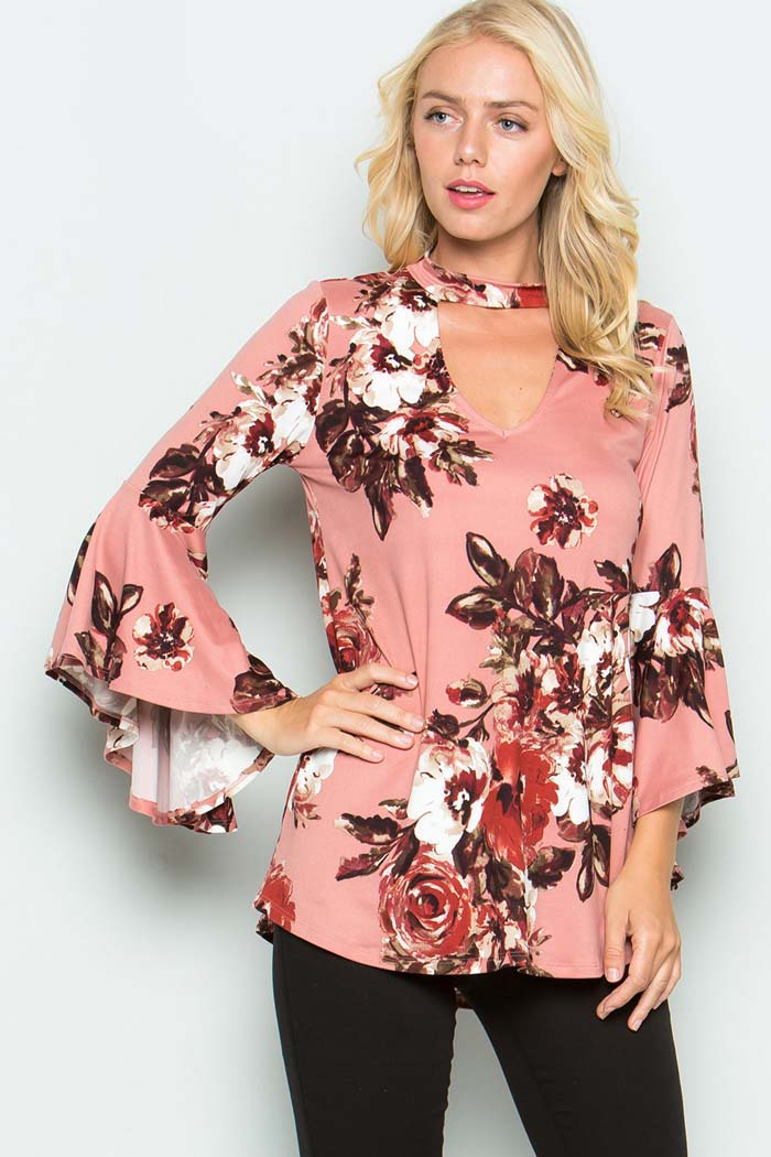 Gozon S Women Long Bell Sleeves With Keyhole Casual Floral