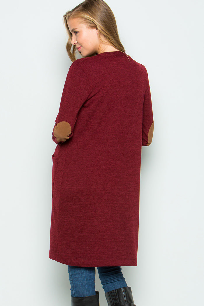 Cozy Long Knit Cardigan : Burgundy