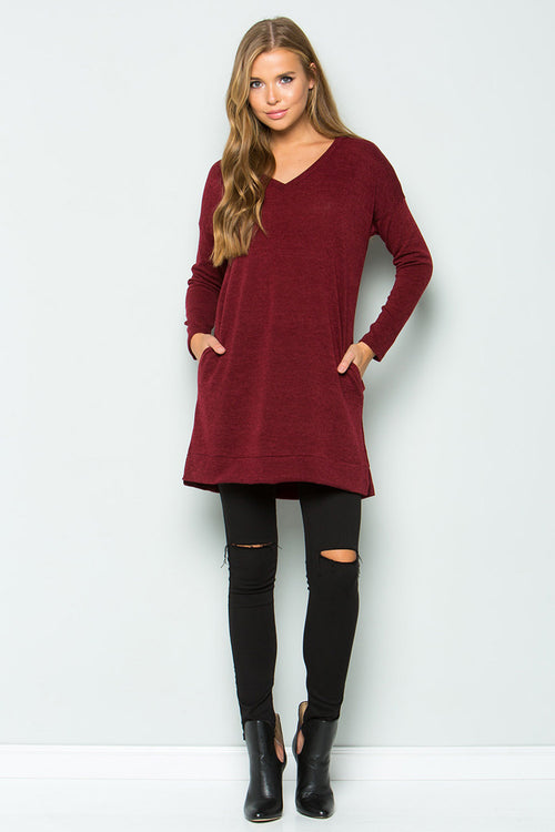 Loose Fit Solid Tunic Top : Burgundy