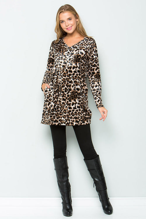Hailey Ice Velvet Tunic : Leopard