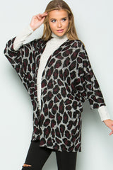 Trendy Leopard Cardigan - Grey/Burgundy