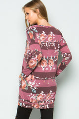 Everyday Floral Tunic Top - Burgundy