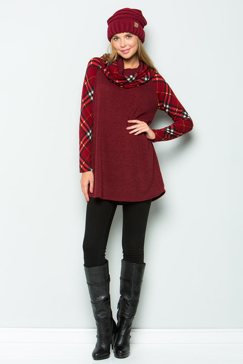 Chloe Turtleneck Tunic Top : Burgundy