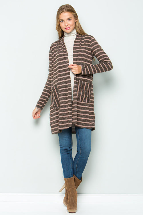 Zoey Stripe Cardigan : Brown/Pink