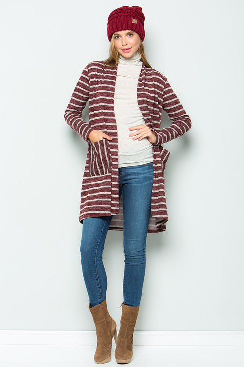 Zoey Stripe Cardigan : Burgundy