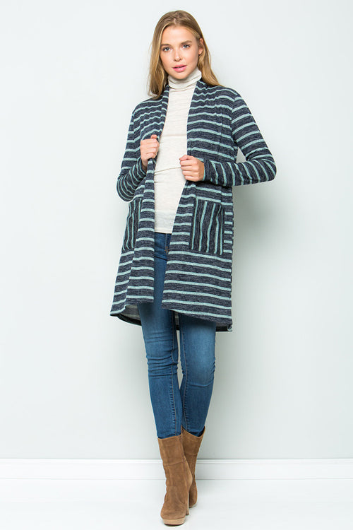 Zoey Stripe Cardigan : Navy blue
