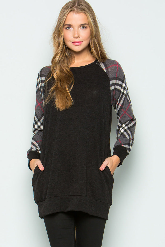 Libby Plaid Raglan Tunic Top : Black
