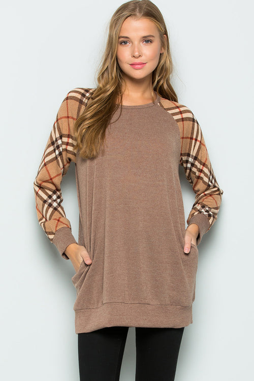 Libby Plaid Raglan Tunic Top : Taupe