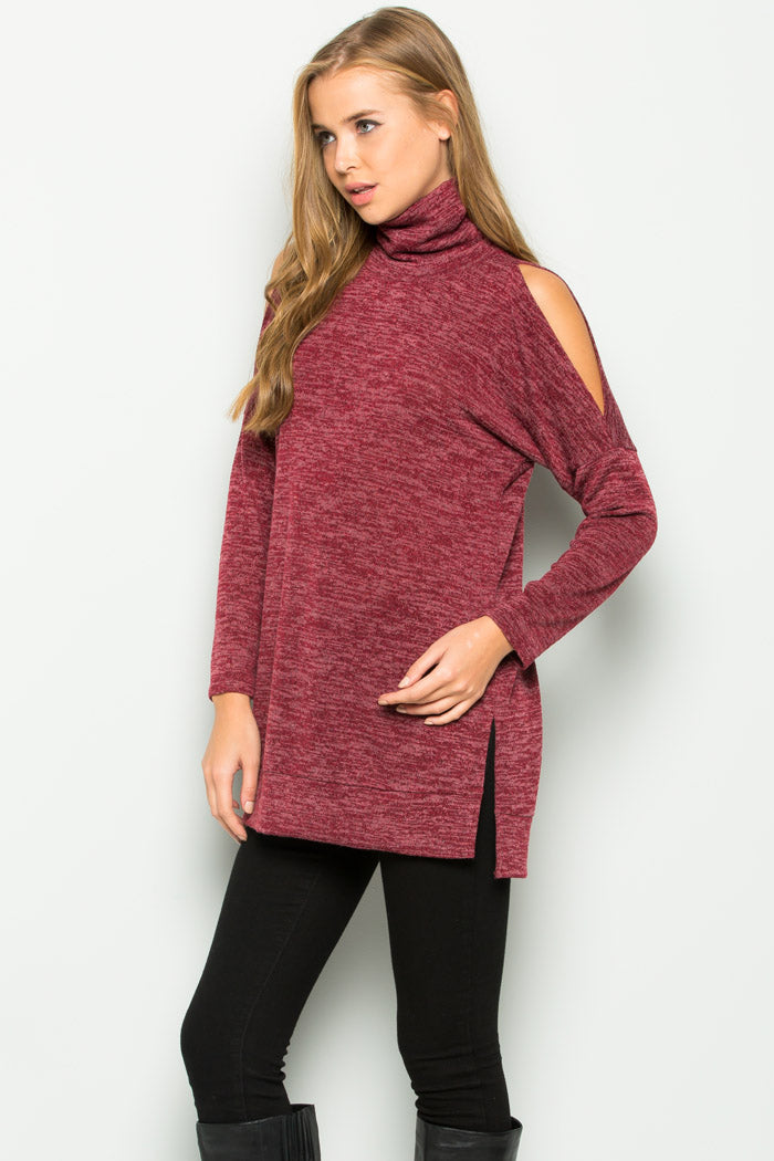 Alice Cold Shoulder Top : Burgundy