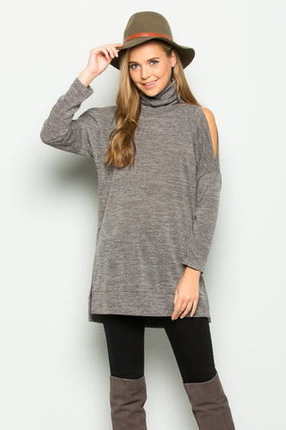 Alice Cold Shoulder Top : Mocha