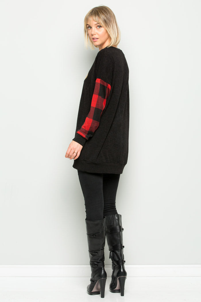 Sara Reindeer Sweater Tunic : Black