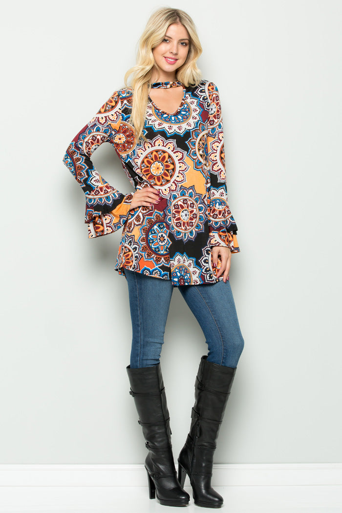 Stephanie Ruffle Sleeve Medallion Top : Mustard/Burgundy