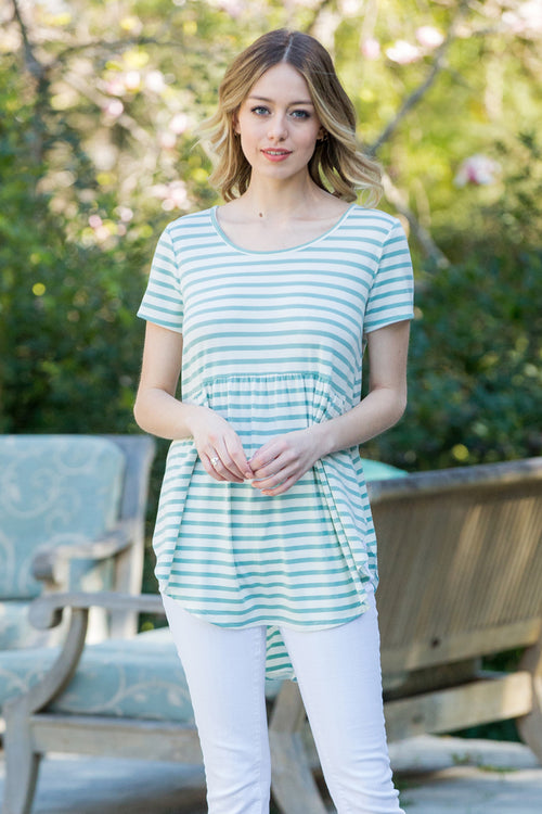 Faith Stripe Babydoll Top : Mint