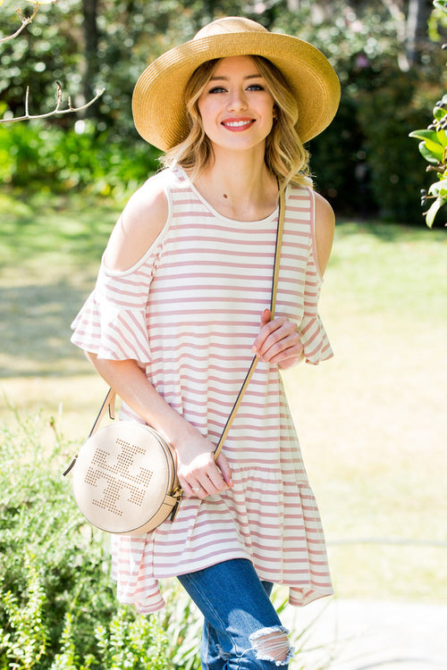 Lexi Stripe Tunic Top : Mauve