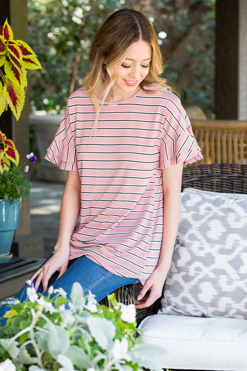 Grace Stripe Cozy Top : Mauve