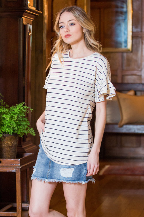 Grace Stripe Cozy Top : Taupe