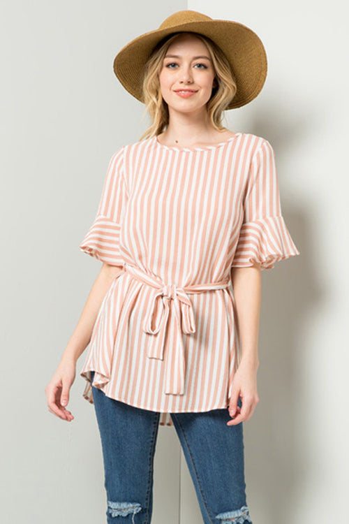 Jessica Self-Tie Tunic Top : Blush