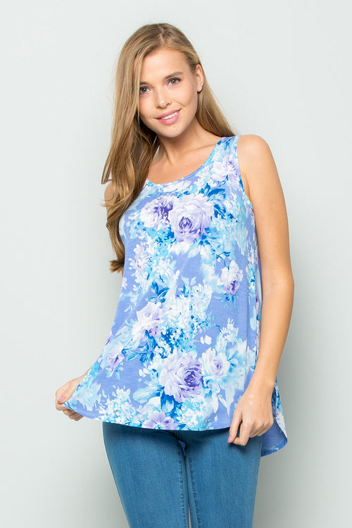 Gloria Floral Sleeveless Tunic : Lavender
