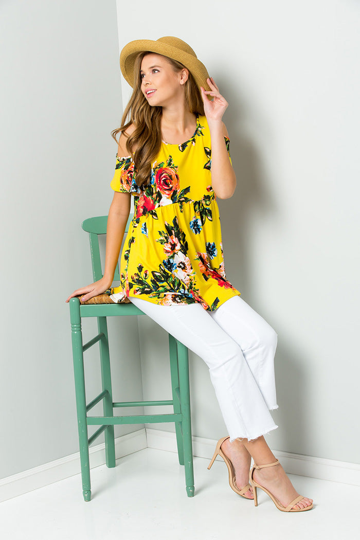 Rachel Cold Shoulder Tunic : Yellow
