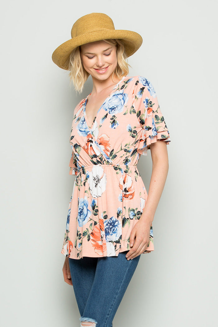 Eliza Wrap Floral Top : Blush