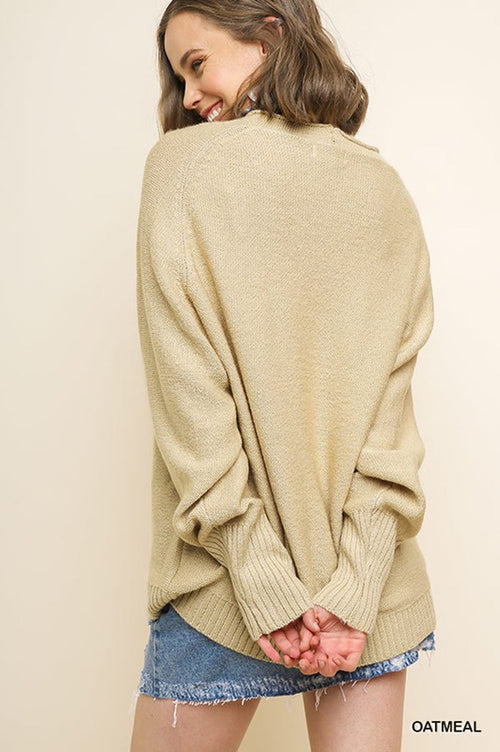 Sarah V-Neck Knit Sweater : Oatmeal
