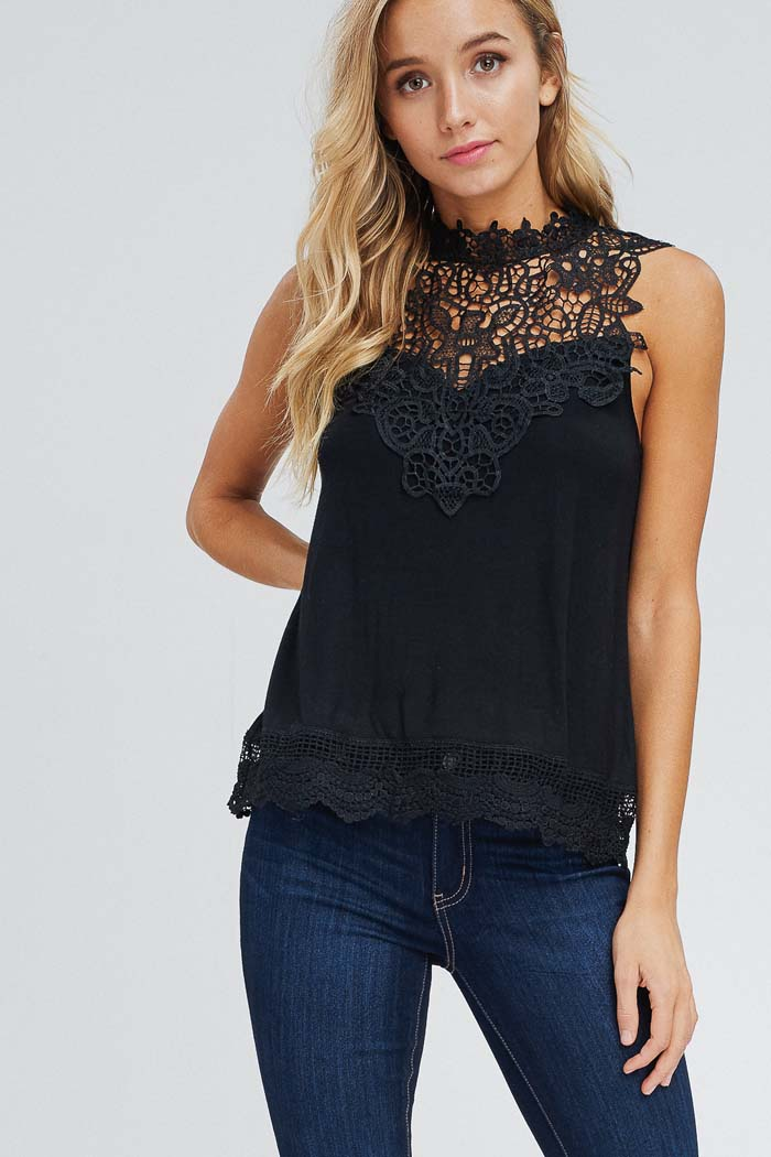 Selena Crochet Neck Top : Black