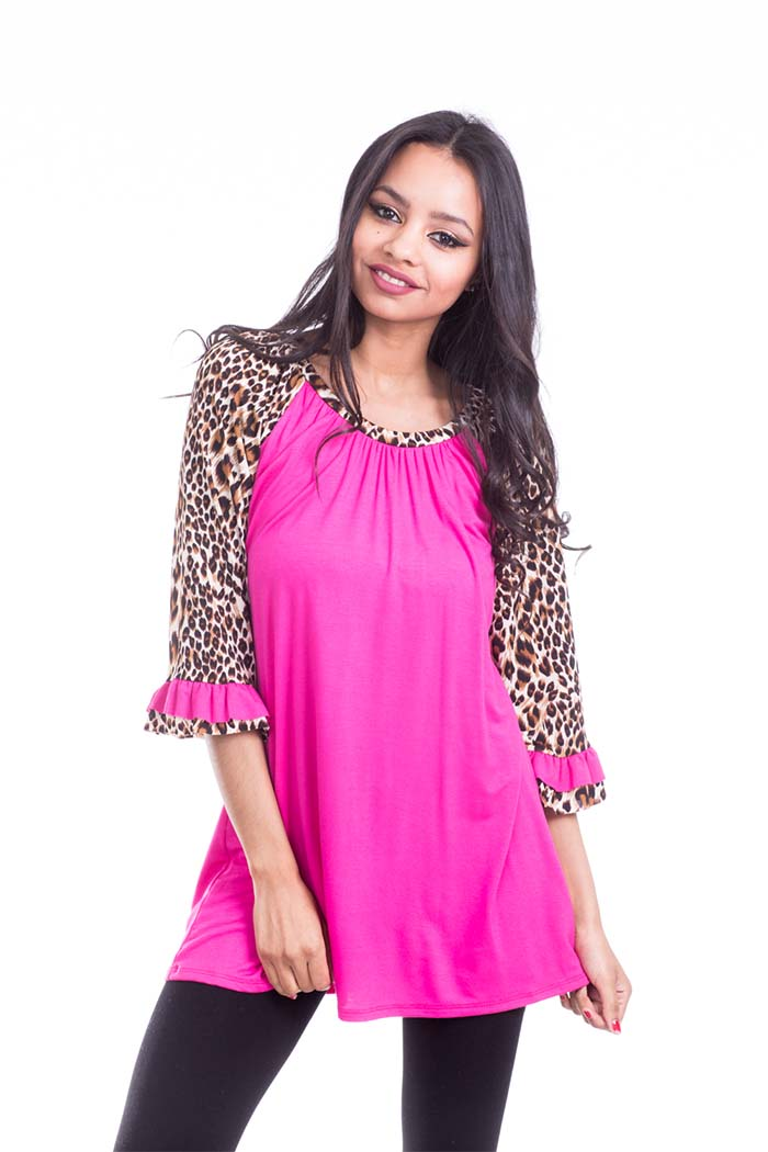 Solid Knit Animal Print Sleeve Tunic Bell Sleeve Top