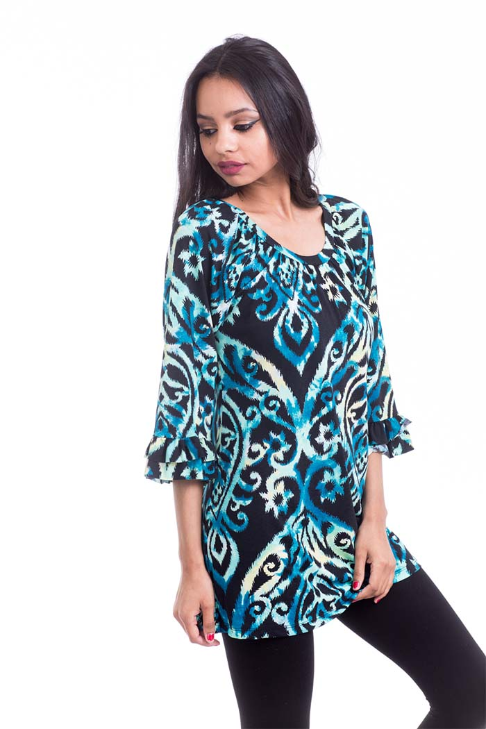 Multicolor Damask Print Knit Tunic Long Sleeve Top