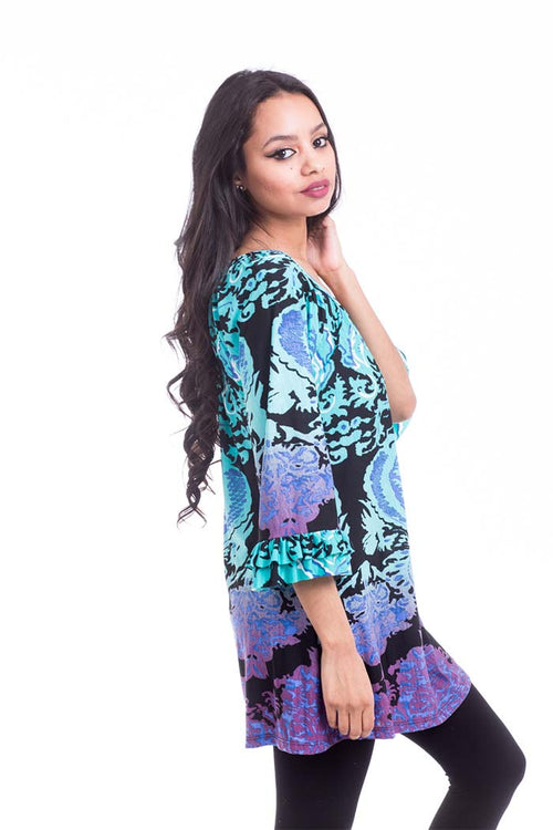 Various Full Print Tunic Top Bell Sleeve