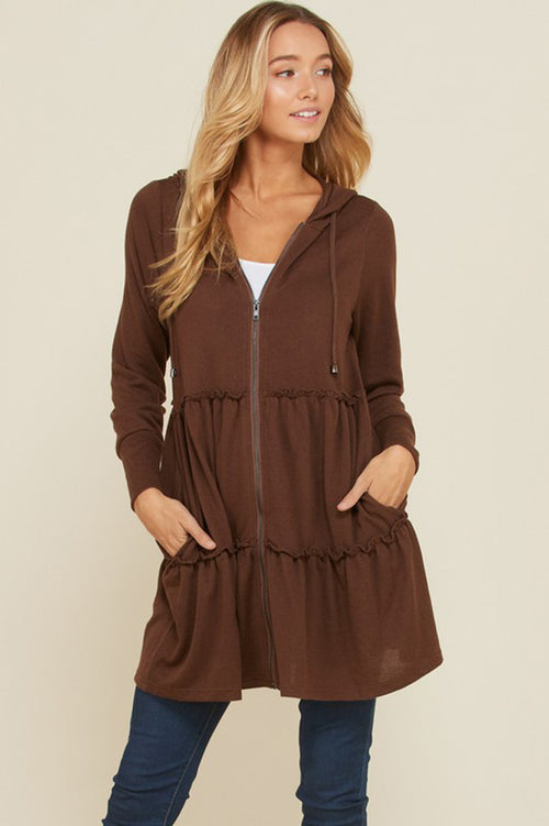 Susan Solid Hacci Zip Up Hoodie Cardigan : Brown