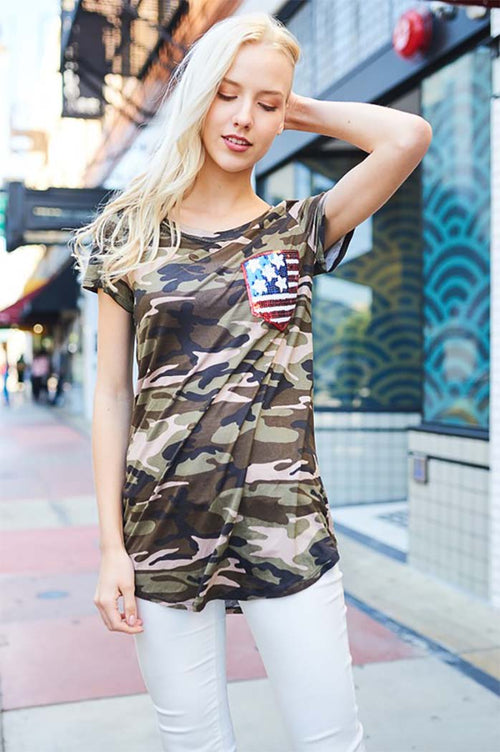 Suzie Flag Camo Top : Olive