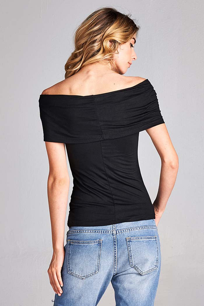 Off Shoulder Solid Top - shirts - GOZON