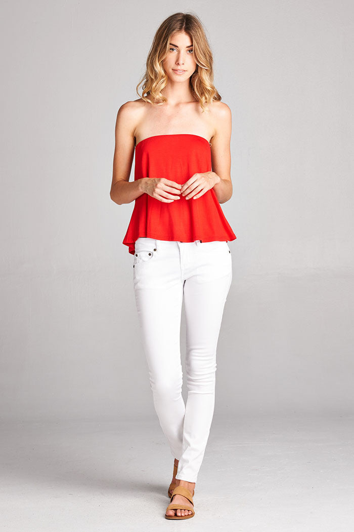 Flouncy Strapless Top - shirts - GOZON