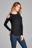 Cutout Long Sleeve Top - shirts - GOZON